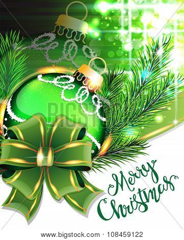 Green Bow And Christmas Bauble
