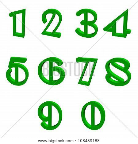 3D green numbers