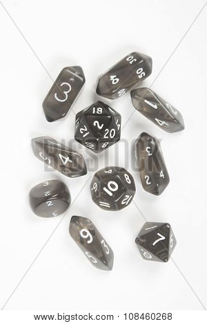 Black dice, runes isolated on white background