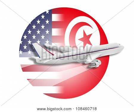 Plane, United States and Tunisia flags.