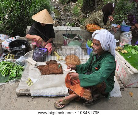 Old Burmese Women Selling Tobacco