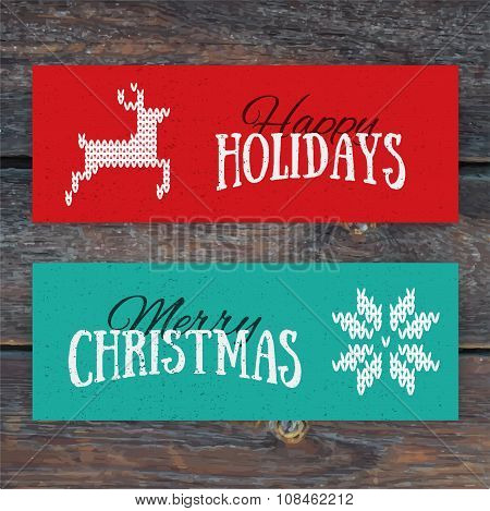 Illustration Of Colorful Paper Cards With Happy Holidays And Merry Christmas Lettering. Christmas Ca