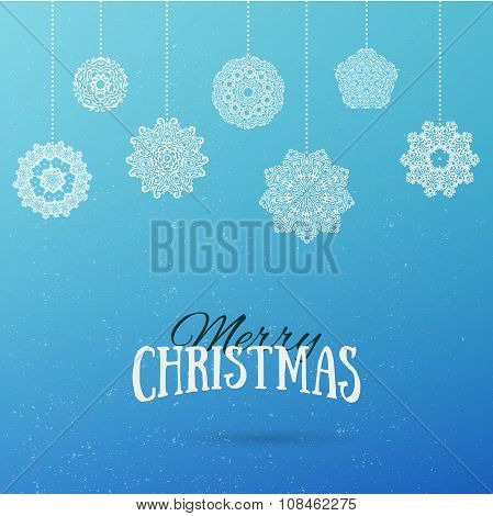Frost Christmas Background With Hanging Mandala Snowflakes. Merry Christmas And Happy New Year Holid