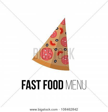 Pizza Vector Concept. Design Element For Restaurant Menu Illustration Or For Logotype. Flat Design O
