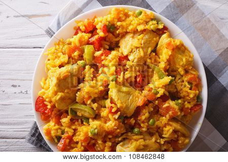 Arroz Con Pollo Close Up In A Bowl. Horizontal Top View