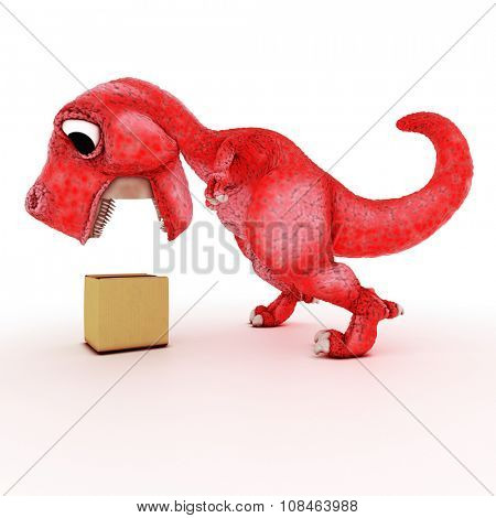 3D Render of Friendly Cartoon Dinosaur with cardboard box