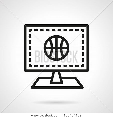 Monitor with basketball black line vector icon
