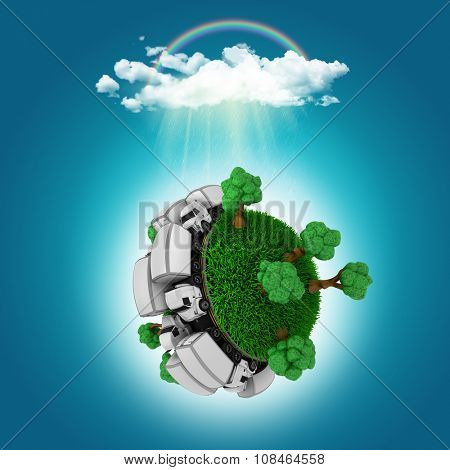 3D render of a grassy globe with trucks and trees under a cloud with a rainbow