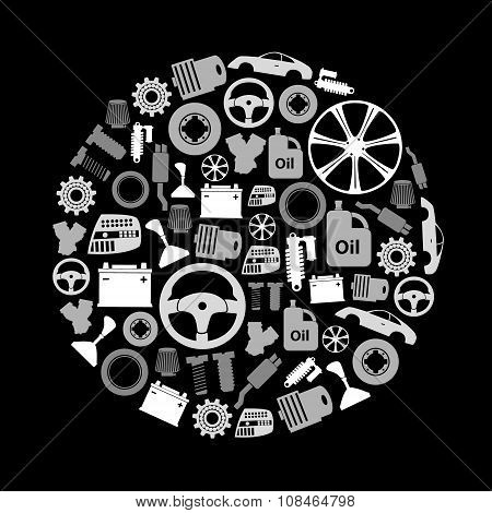Car Parts Store Simple Gray-scale Icons In Circle Eps10