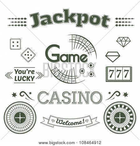 Casino logo and label set game vector illustration