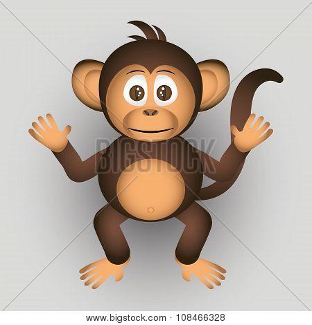Cute Chimpanzee Little Monkey Cartoon Character Eps10