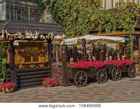 Odessa, Ukraine - August 28, 2015:  Street Cafes Decorated In Ethnic Style