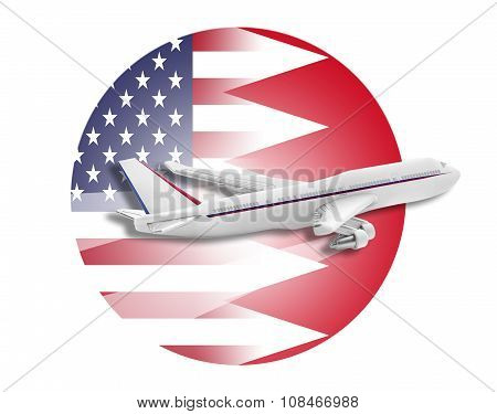Plane, United States and Bahrain flags.