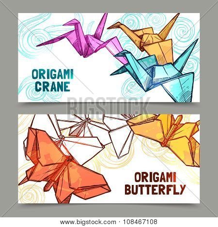 Origami butterflies and cranes banners set