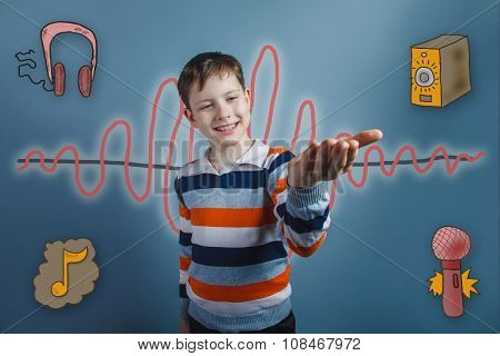 teenage boy smiling and holding his hand on a sound wave music r