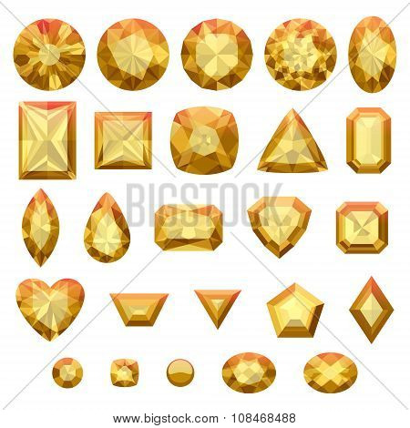 Set of realistic yellow jewels. Beryls isolated.
