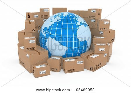 Worldwide Delivery Concept Image - Blue Earth Globe In Stack Of Cardboard Boxes - Elements Of This I