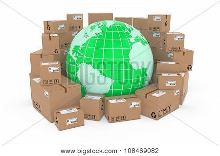 Worldwide Delivery Concept Image - Green Earth Globe In Stack Of Cardboard Boxes - Elements Of This