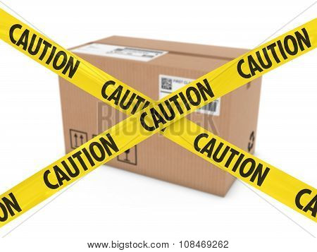 Suspicious Parcel Concept - Cardboard Box Behind Caution Tape Cross