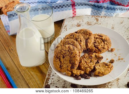 Chocolate Chip Cookies With Bootle Of Milk.