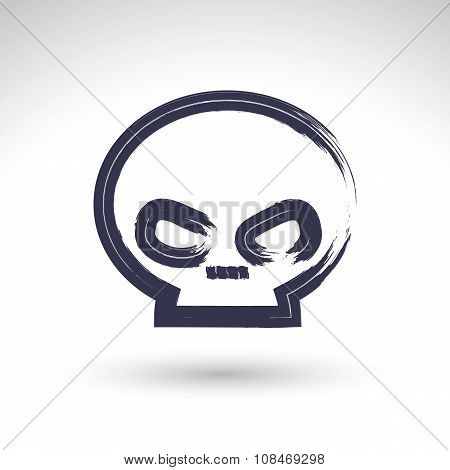 Brush Drawing Simple Human Skull, Painted Medicine Icon, Created With Real Hand Drawn Ink Brush Scan