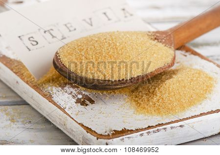 Cane Sugar With Stevia In A Spoon.