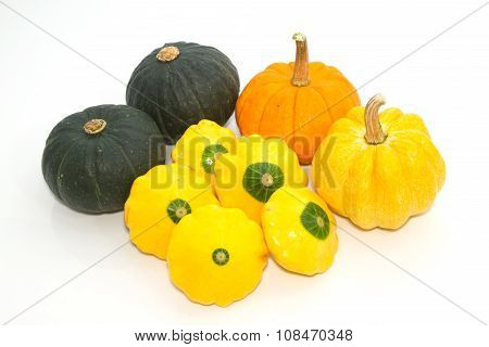 Assortment Of Pumpkins On White Background