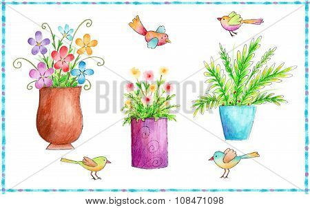 Flowers and Birds Icons