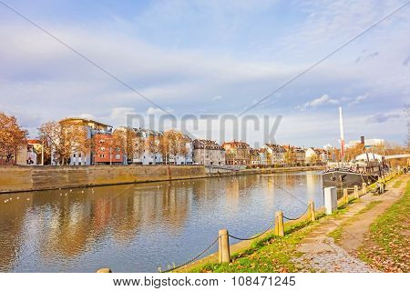 City Stuttgart - Bad Cannstatt, River Neckar