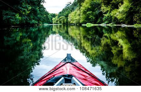 boat nose on a calm river background