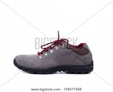 grey suede men shoe isolated on white background