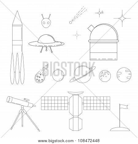 Set of space and astronomy linear icons.
