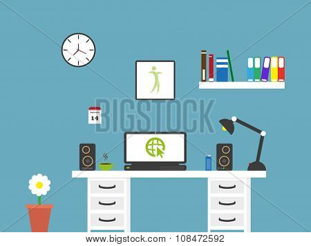 Flat Home Office Workspace Interior . Minimalistic Vector