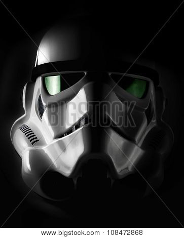 NEW YORK - NOV 7 2015: Studio portrait of an EFX brand Star Wars ANH Stormtrooper helmet. Star Wars The Force Awakens opens December 18th 2015 worldwide. The Star Wars franchise is owned by Disney