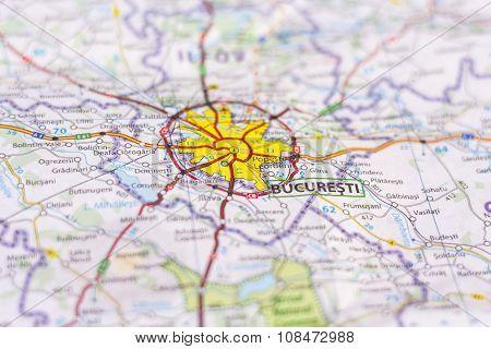 Bucharest On A Map
