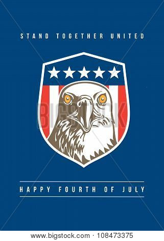 Independence Day Greeting Card-american Bald Eagle Head Stars Shield