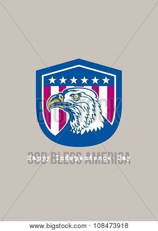 Independence Day Greeting Card-american Bald Eagle Head Side Stars