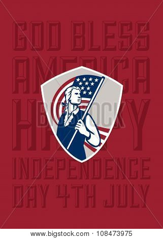 Independence Day Greeting Card-american Patriot Holding Usa Flag Shield