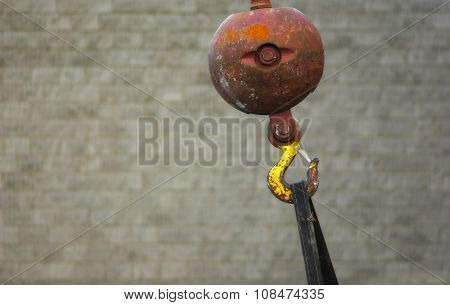 crane hook ball gray background