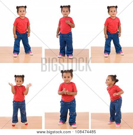 Sequence of photos of a little African girl isolated on a white background