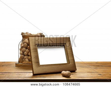 picture frame  with   glass corks in white background