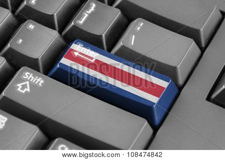 Enter Button With Costa Rica Flag
