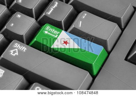 Enter Button With Djibouti Flag