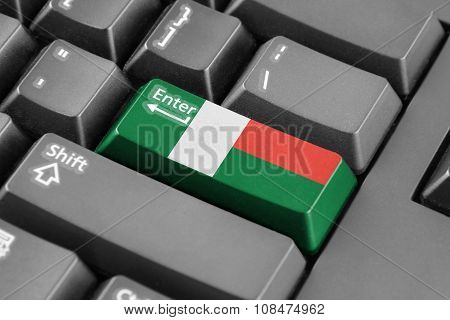 Enter Button With Madagascar Flag
