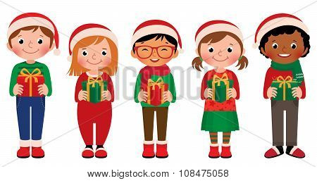 Cartoon Children With Christmas Gifts In Hands Isolated On White Background