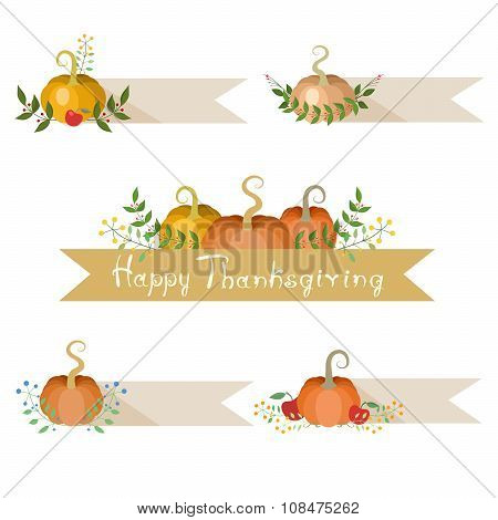 Pumpkins Holiday Decorations With Banners