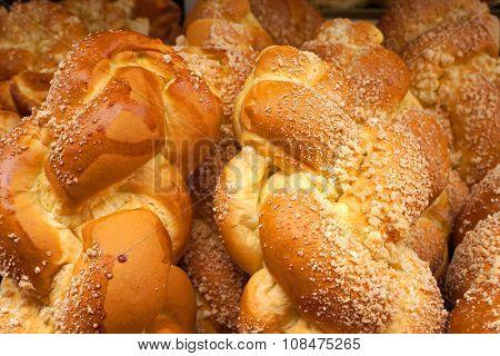Fresh wheaten loafs. White bread.