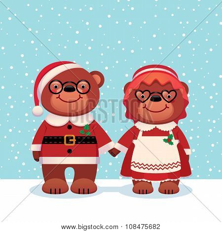 Bear Santa Claus And His Wife