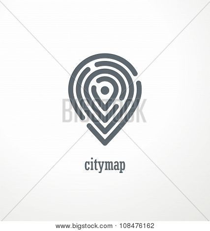 City map creative symbol concept
