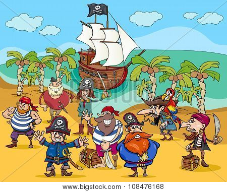 Pirates On Treasure Island Cartoon